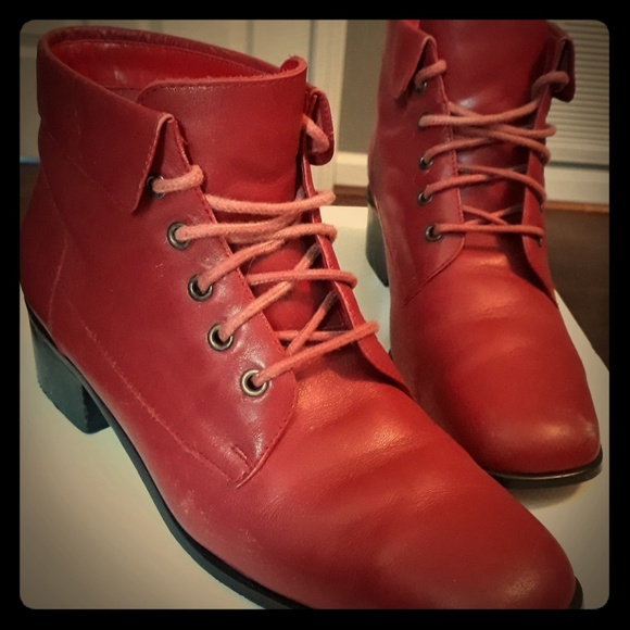 Shoes | Red Low Cut Boots | Poshmark